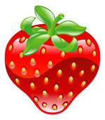 Illustration of shiny strawberry icon — Stock Vector