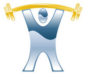 Strong weightlifting barbell illustration icon — 图库矢量图片