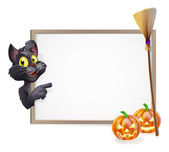 Witch Cat Halloween Sign — Stock Vector