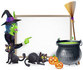 Cartoon Witch Halloween Sign — Stockvektor