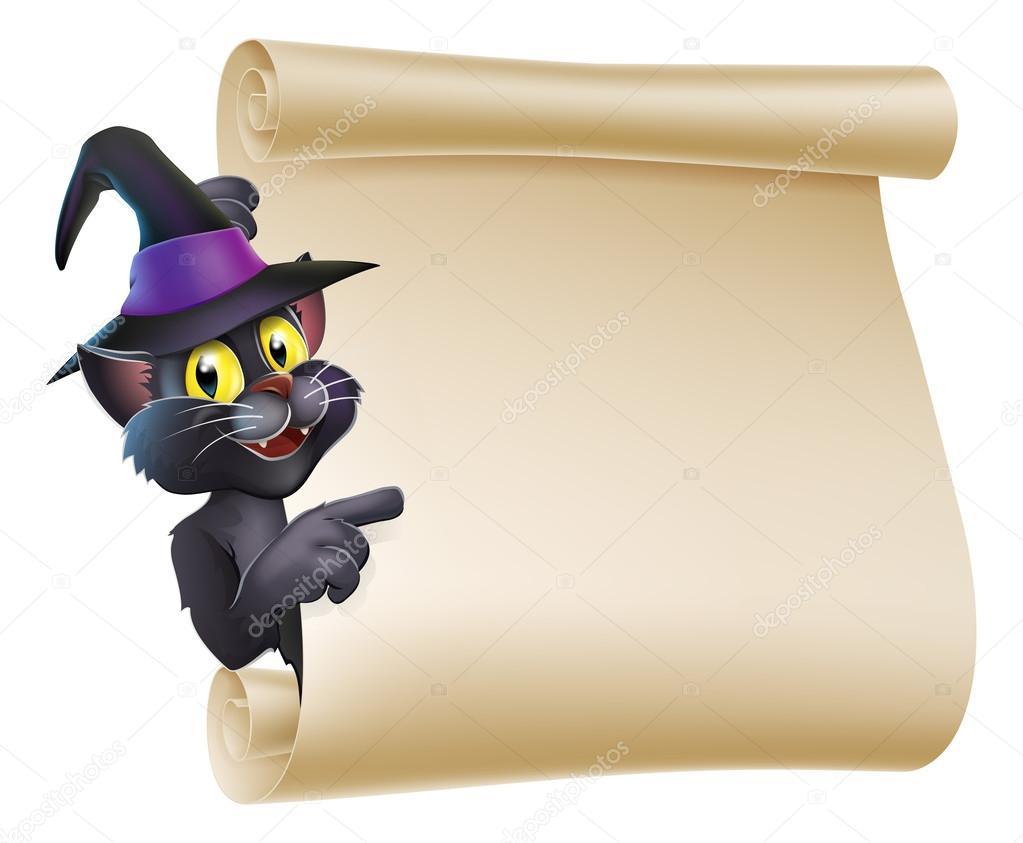 Scorrimento di gatto halloween strega — vettoriali stock
