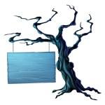 Halloween tree sign — Stock Vector