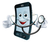 Cartoon phone character holding a stethoscope — Stock Vector