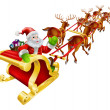 Christmas Santa Claus flying in sleigh  — Stock Vector