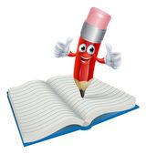 Cartoon Pencil Man Writing in Book — Stock Vector
