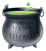 Happy Halloween witch cauldron — Stock Vector