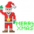 Retro pixel art Christmas Santa — Stock Vector