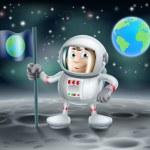 Cartoon astronaut on the moon — Stock Vector