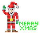 Retro pixel art Christmas Santa — Stock Vector