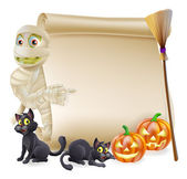 Mummy Scroll Halloween Banner — Stock Vector