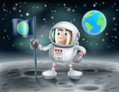 Cartoon astronaut on the moon — Stock Vector