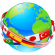 Stock Vector: A earth globe with flags of countries