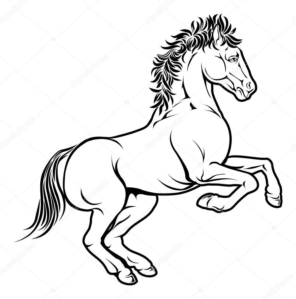 Illustrazione Di Cavallo Stilizzato Vettoriali Stock