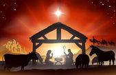 Kerstmis kerststal — Stockvector