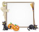 Mummy Halloween Banner Sign — Stock Vector