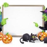 Halloween Witch and Frankenstein Banner — Stock Vector #31994149