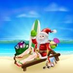 Surf Summer Santa — Stock Vector