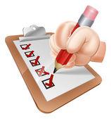 Cartoon Hand and Survey Clipboard — Stock Vector