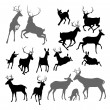 Stock Vector: Deer animal silhouettes