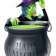 Happy Halloween Witch and Cauldron — Stock Vector #32381947