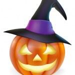 Witch hat Halloween pumpkin — Stock Vector