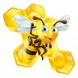 Stock Vector: Cute Cartoon Bee and Honeycomb