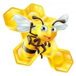 cute cartoon bee en honingraat — Stockvector
