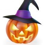 Halloween Pumpkin in Witch Hat — Stock Vector