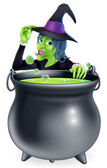 Halloween Witch and Cauldron — Stock Vector