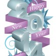 Blue Happy New Year 2014 Ornaments — Stock Vector