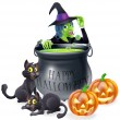 Halloween Cartoon Witch Scene — Stock Vector