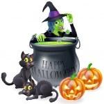 Halloween Cartoon Witch Scene — Stock Vector #33268345