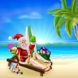 Christmas Santa Tropical Beach Scene — Stock Vector