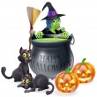 Happy Halloween Witch and Cauldron — Stock Vector