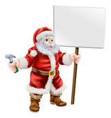 Santa holding hammer and sign — Stockvector