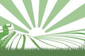 Sunshine Over Hill Fields — Stock Vector