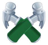 Icono de martillos cruzados — Vector de stock