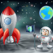 Cartoon astronaut and vintage space rocket on the moon — Vecteur