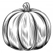 Stockvector : Vintage retro woodcut pumpkin