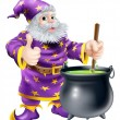 Stock Vector: Wizard stirring cauldron