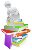 Thinking thinker on books — Stock Vector