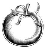 Vintage retro woodcut tomato — Stock Vector