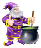 Wizard stirring cauldron — Stock Vector