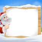 Snow scene Christmas Santa Sign — Stock Vector #34039387