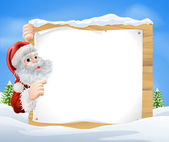 Snow scene Christmas Santa Sign — Stock Vector