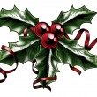 Vintage Christmas Holly Illustration — Vecteur #34198829