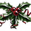 Stockvector : Vintage Christmas Holly Illustration