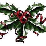 ������, ������: Vintage Christmas Holly Illustration