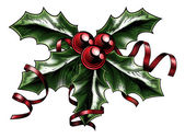 Vintage Christmas Holly Illustration — Vecteur