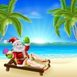 Stock Vector: Summer Christmas Santa Beach Scene